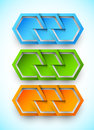 Set of banners with cut paper hexagons Stock Image