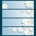 Set of banners with 3d stylish flowers sakura
