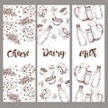 Set of banners dairy products, hand drawn, sketches foods. Royalty Free Stock Photo
