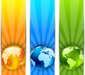 Set of banners with globes Stock Photography