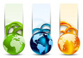 Set of banners with globes Stock Photo