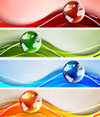 Set of banners with globes Royalty Free Stock Photo