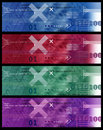 Set of Banners Image / Internet Icons, Arrows, HTML code - Red Blue Green Violet Royalty Free Stock Photo