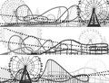 Set of banners of roller coaster and ferris wheel from amusement park Stock Photo