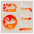 A set of banners sale in a modern style. Handwriting. Blend letters.