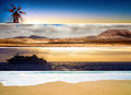 Set of banners with sea mountains and deserts travel Royalty Free Stock Photos