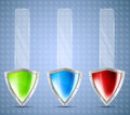 Set of banners with shields Royalty Free Stock Photos