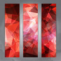 Set of banners with shining red polygonal pattern cards abstract geometric Royalty Free Stock Image