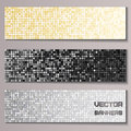 Set of banners with shiny metallic paillettes silver golden black bacgkround eps vector illustration Royalty Free Stock Photography