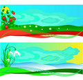 Set of banners with a strawberry and snowdrops Royalty Free Stock Photos