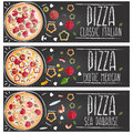Set of banners for theme pizza different tastes flat design