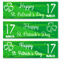 Set banners with three leaved shamrock symbols. 17 March. Backgrounds with congratulations on St. Patricks Day
