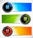 Set of banners with timers Royalty Free Stock Image