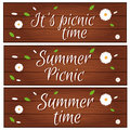 Set of banners with wooden desk grass and flower for summer
