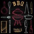 Set of barbecue tools drawn in colored chalk on a blackboard. Hot brazier, grater to peel, blender, frying pan, tongs, knife. Royalty Free Stock Photo