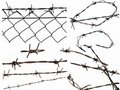 Set barbed wire fence protection isolated on white Stock Photo