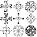 Set of baroque crosses spiritual signs derived from ancient motifs in vector art Stock Photos