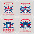 Set baseball badge, logo, emblem tournament in vintage retro sty