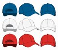 Set of baseball caps, front, back and side view. Vector illustration Royalty Free Stock Photo
