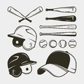Set of baseball equipment and gear. bat, helmet, cap, balls. vector illustration Royalty Free Stock Photo