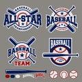 Set of baseball sport badge logo design template