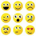 Set of basic emoticons in flat design Stock Photos