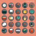 25 set Basic Flat design, Contains such Icons as Workplace, business and office equipment items, Reception Desk and more
