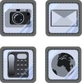 Set of basic icons for a smartphone in a new original style under glass, buttons set internet, envelope, phone, mobile