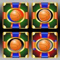 Set with basketball emblem vector emblems a ball and red and blue ribbons Royalty Free Stock Photo