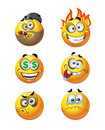 Set of batch round emotion smiles Stock Photo
