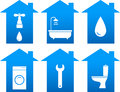 Set of bathroom icons with house silhouette Royalty Free Stock Photos
