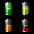 Set of battery icons beautiful charge level indicators Royalty Free Stock Photos