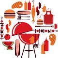 Set of bbq objects Royalty Free Stock Photo