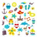 Set of beach icons.