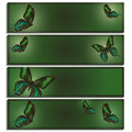 Set of beautiful banner with green butterflies Royalty Free Stock Photo