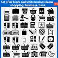 Set of beautiful black and white business icons vector eps Royalty Free Stock Images