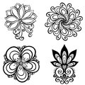 Set of beautiful deco flowers vector patterned design Royalty Free Stock Images