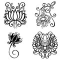 Set of beautiful deco flowers vector patterned design Royalty Free Stock Image