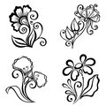 Set of beautiful deco flowers vector patterned design Stock Photo