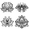 Set of beautiful deco flowers vector patterned design Royalty Free Stock Photo