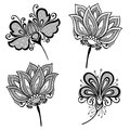 Set of beautiful deco flowers vector patterned design Stock Photos