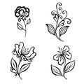 Set of beautiful deco flowers vector patterned design Royalty Free Stock Photos