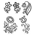 Set of beautiful deco flowers vector patterned design Stock Images