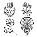 Set of beautiful deco flowers vector patterned design Royalty Free Stock Photography