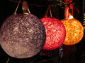 A set of beautiful designer lamps in different colors in a shop Royalty Free Stock Photo