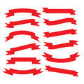 Set of beautiful festive red ribbons. Vector illustration Royalty Free Stock Photo