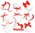 Set of beautiful gift cards with red gift bows wit ribbons vector Royalty Free Stock Image