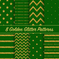 Set of beautiful golden glitter patterns for different festive designs graphic Stock Photography