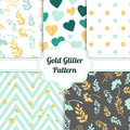 Set of beautiful golden glitter seamless patterns for different festive designs. Vector illustration