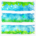 Set of beautiful green nature banners vector painted syle spring with leaves grass dandelion and butterfly illustration Stock Photo